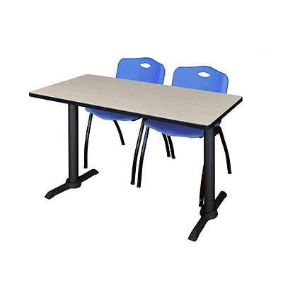 Regency 48-inch Metal & Wood Cain Computer Table with Stack Chairs, Blue