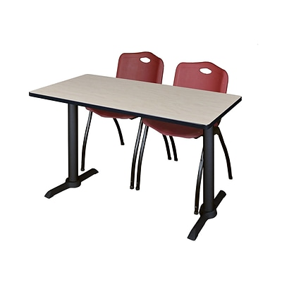 Regency 48-inch Metal & Wood Cain Computer Table with Stack Chairs, Burgundy