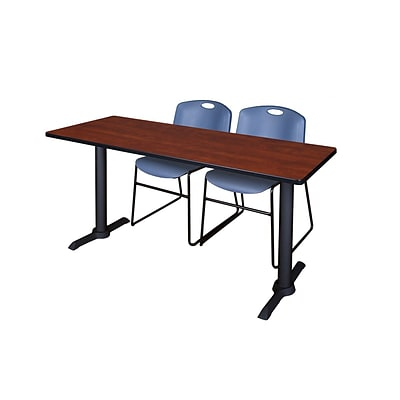 Regency 60-inch Metal & Wood Cain Computer Table Cherry with Stack Chairs, Blue