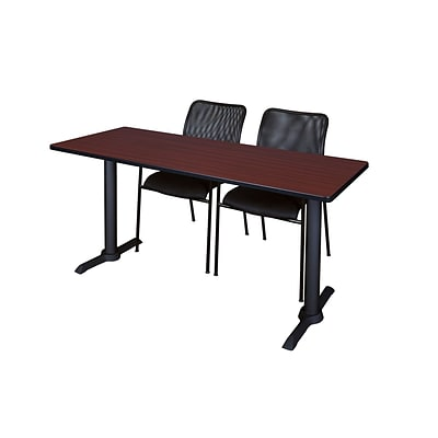 Regency 60-inch, Metal & Wood Cain Computer Table with Mario Stack Chairs, Mahogany