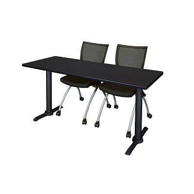 Regency 60-inch Metal & Wood Training Tables with Apprentice Chairs , Mocha Walnut