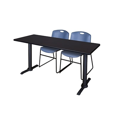 Regency Cain 60 x 24 Training Table, Mocha Walnut and 2 Zeng Stack Chairs, Blue (MTRCT6024MW44BE)