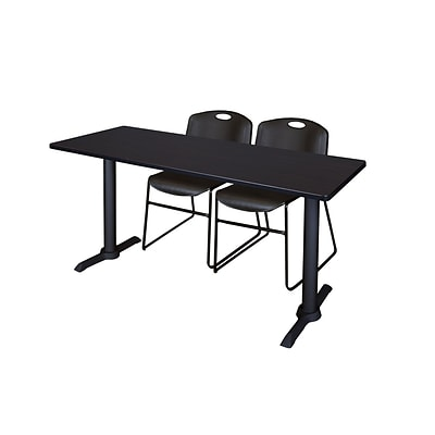 Regency 60-inch Metal & Wood Cain Rectangular Training Table with Zeng Stack Chairs, Black