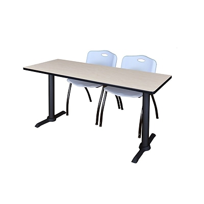 Regency Cain 60 x 24 Training Table, Maple and 2 M Stack Chairs, Gray (MTRCT6024PL47GY)