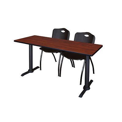 Regency Cain 66 x 24 Training Table, Cherry and 2 M Stack Chairs, Black (MTRCT6624CH47BK)