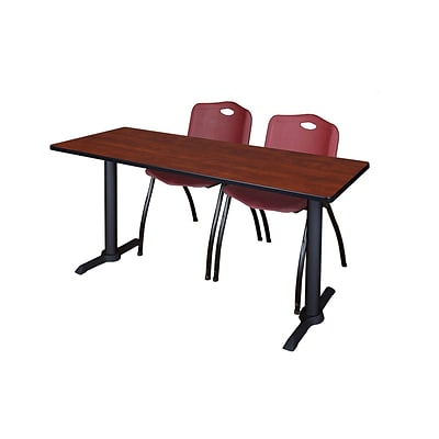 Regency Cain 66 x 24 Training Table, Cherry and 2 M Stack Chairs, Burgundy (MTRCT6624CH47BY)