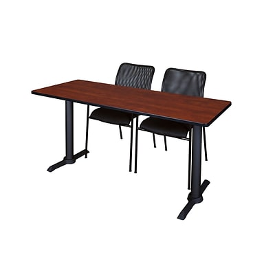 Regency 66-inch Metal & Wood Training Table with Mario Stack Chairs, Cherry