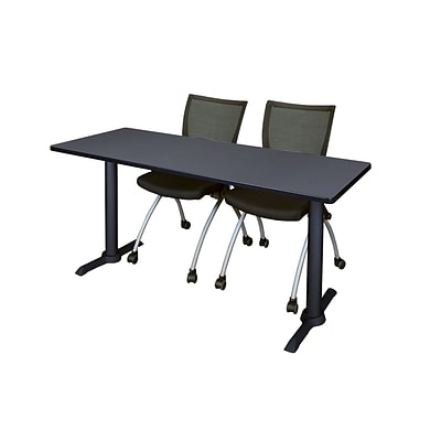 Regency 66-inch Metal & Wood Cain Training Table with Apprentice Chairs, Grey