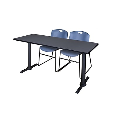 Regency 66-inch Metal & Wood Rectangular Training Table with Zeng Stack Chairs, Blue