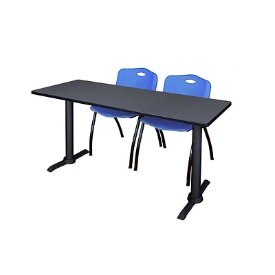 Regency Cain 66 x 24 Training Table, Gray and 2 M Stack Chairs, Blue (MTRCT6624GY47BE)