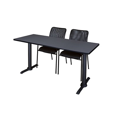 Regency Cain 66 x 24 Training Table, Gray and 2 Mario Stack Chairs, Black (MTRCT6624GY75BK)