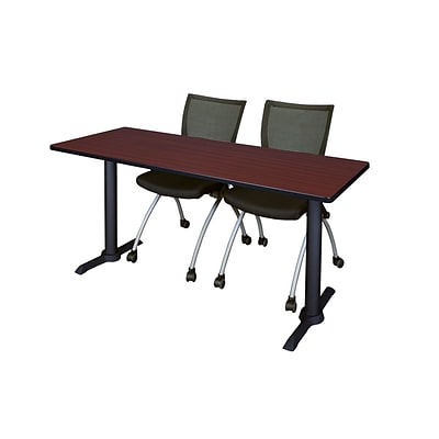 Regency 66-inch Metal & Wood Cain Training Table with Apprentice Chairs, Mahogany