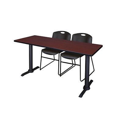 Regency 66-inch Metal & Wood Cain Computer Table with Stack Chairs, Black
