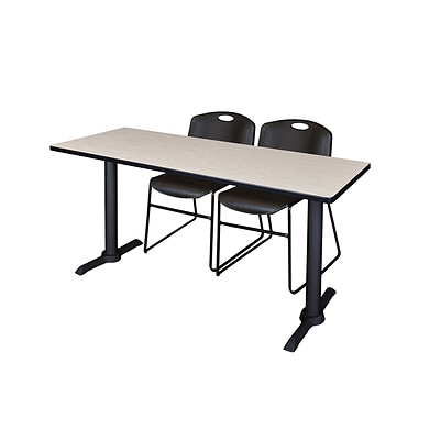 Regency 66-inch Metal & Wood Training Table with Zeng Stack Chairs, Black