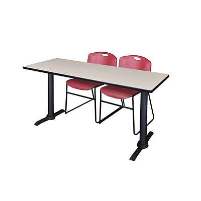 Regency Cain 66 x 24 Training Table, Maple and 2 Zeng Stack Chairs, Burgundy (MTRCT6624PL44BY)