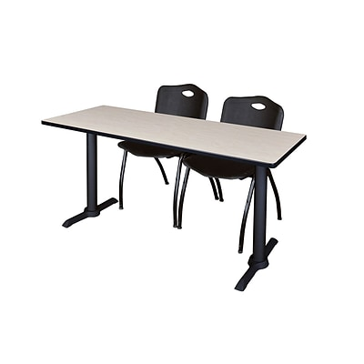 Regency 66-inch Metal & Wood Cain Rectangular Maple Training Table with Stack Chairs, Black