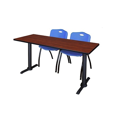 Regency 72-inch Metal, Plastic & Wood Cain Rectangular Training Table with Stack Chairs, Blue