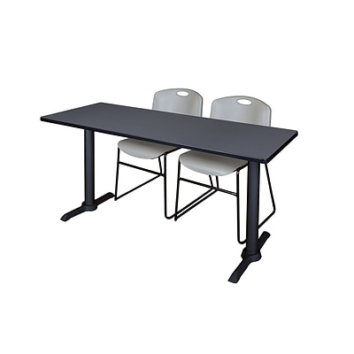 Regency 72-inch Wood & Metal Cain Computer Table with Stack Chairs, Gray