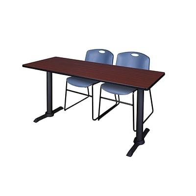 Regency Cain 72 x 24 Training Table in Mahogany with 2 Zeng Stack Chairs in Blue (MTRCT7224MH44BE)