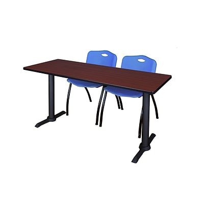 Regency 72-inch Metal & Wood Cain Mahogany Training Table with Stack Chairs, Blue