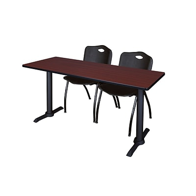 Regency 72-inch Metal & Wood Cain Mahogany Training Table with Stack Chairs, Black