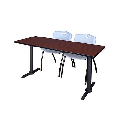 Regency Cain 72 x 24 Training Table, Mahogany and 2 M Stack Chairs, Gray (MTRCT7224MH47GY)