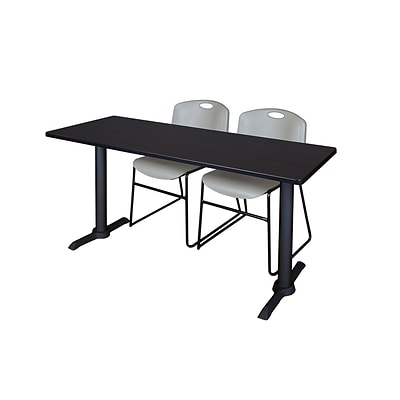 Regency 72-inch Metal & Wood Cain Mocha Walnut Training Table with Zeng Stack Chairs, Gray