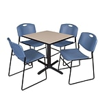 Cain 30 Sq Table Beige & 4 Zeng Chairs Blue