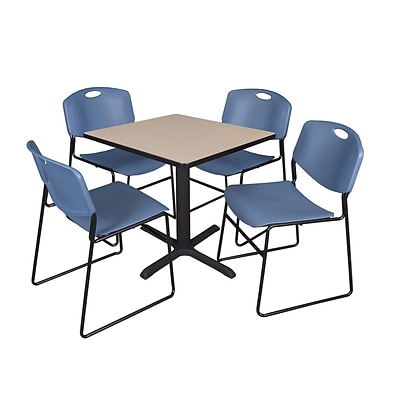Regency Cain 30 Square Break Room Table, Beige and 4 Zeng Stack Chairs, Blue (TB3030BE44BE)