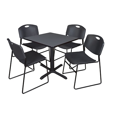 Regency 30-inch Square Laminate Table with Four Chairs, Black