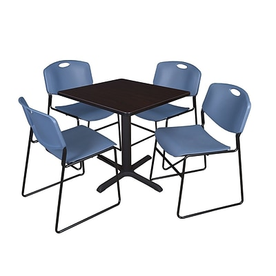 Regency Cain 30 Square Break Room Table, Mocha Walnut and 4 Zeng Stack Chairs, Blue (TB3030MW44BE)