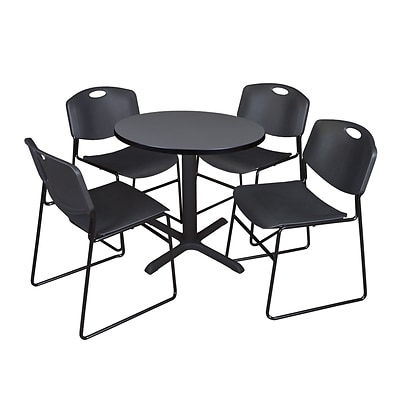 Regency Cain 30 Round Break Room Table, Gray and 4 Zeng Stack Chairs, Black (TB30RNDGY44BK)