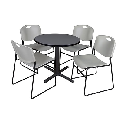 Regency 30-inch Laminate Round Table with 4 Chairs, Gray