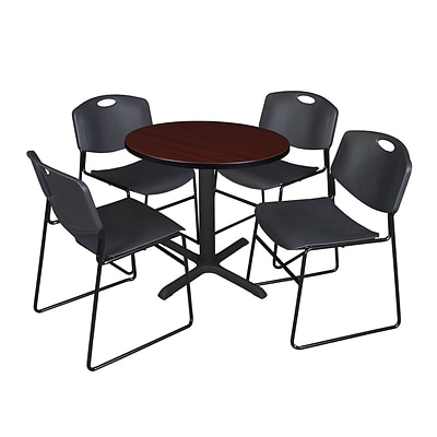 Regency 30-inch Laminate Round Table with 4 Zeng Stack Chairs, Mahogany & Black