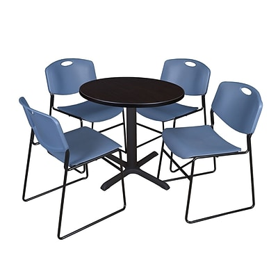 Regency Cain 30 Round Breakroom Table, Mocha Walnut and 4 Zeng Stack Chairs, Blue (TB30RNDMW44BE)