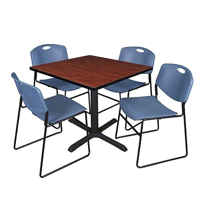 Regency 48-inch Square Laminate Table with 4 Zeng Stack Chairs Cherry & Blue