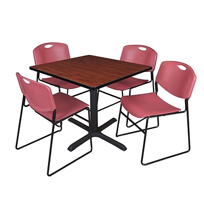 Regency Cain 36 Square Break Room Table, Cherry and 4 Zeng Stack Chairs, Burgundy (TB3636CH44BY)