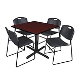 Cain 36 Sq Table Mohg & 4 Zeng Chairs Black