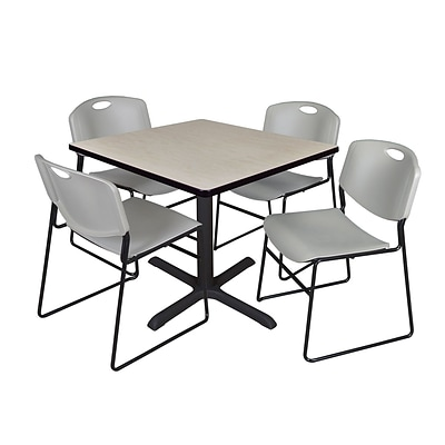 Regency 30-inch Square Laminate Table with 4 Chairs, Gray