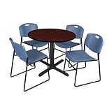 Cain 36 Round Table Mohg&4 Zeng Chairs Blue