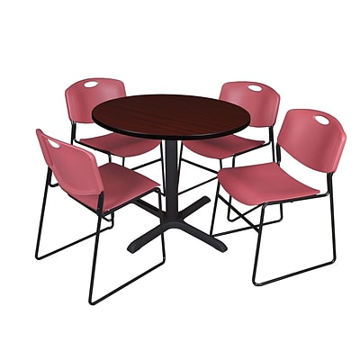 Regency Cain 36 Round Break Room Table, Mahogany and 4 Zeng Stack Chairs, Burgundy (TB36RNDMH44BY)