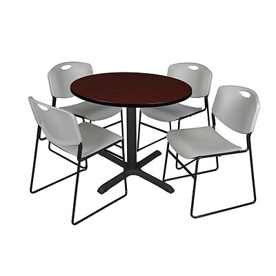 Regency 48-inch Round Laminate Table with 4 Chairs, Gray