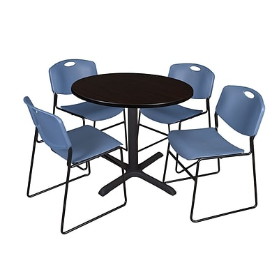Regency 36-inch Laminate Round Shape Table with 4 Chairs, Mocha Walnut & Blue