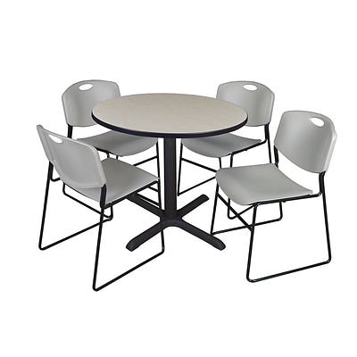 Regency Cain 36 Round Break Room Table, Maple and 4 Zeng Stack Chairs, Gray (TB36RNDPL44GY)