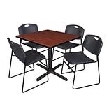 Cain 42 Sq Tbl Cherry & 4 Zeng Chairs Black