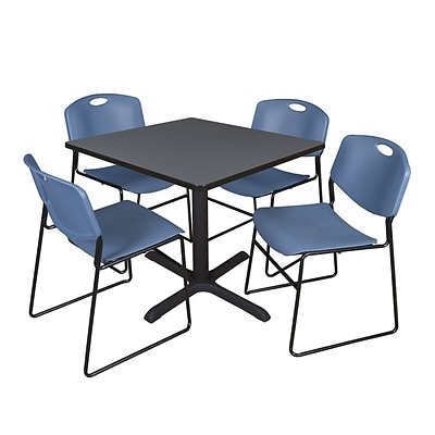 Regency 42-inch Square Table with Cain Base & 4 Zeng Stack Chairs, Blue
