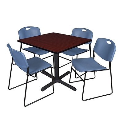 Regency 42-inch Square Table with 4 Zeng Stack Chairs, Mahogany & Blue