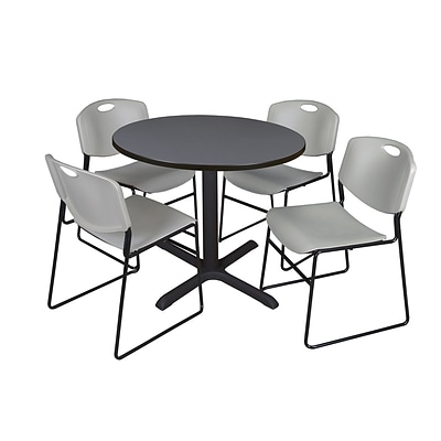 Regency 42-inch Laminate Round Table with 4 Zeng Stack Chairs, Gray