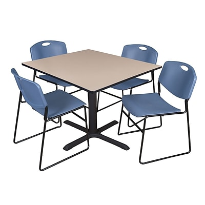Regency 48-inch Square Laminate Table with 4 Zeng Stack Chairs, Beige & Blue