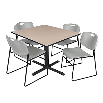 Regency 48-inch Square Laminate Table with 4 Zeng Stack Chairs, Beige & Gray